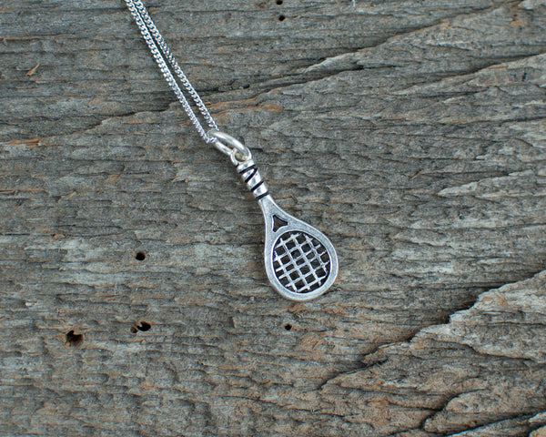 Tennis racquet charm  Silver Necklace - Lisa Young Design