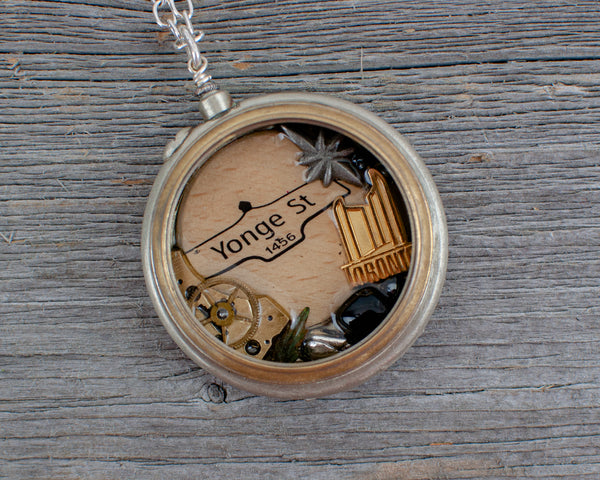 Toronto pin and Yonge st  Pocket Watch Necklace - Lisa Young Design