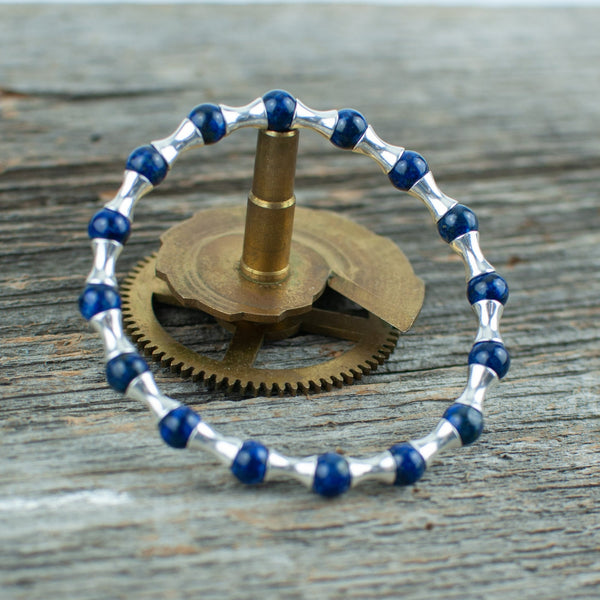 Sterling Silver and Lapis Lazuli Bead Bracelet - Lisa Young Design