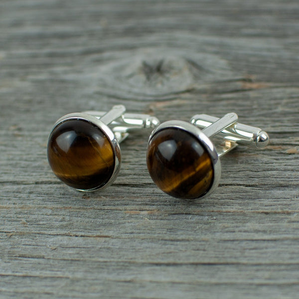 Tiger eye stone cuff links - Lisa Young Design