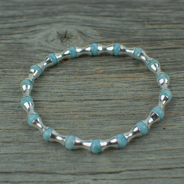 Larimar and Sterling silver Bead Bracelet