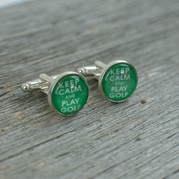 Keep Calm and Play golf cufflinks - Lisa Young Design