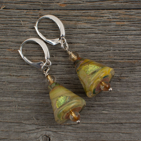 Golden colour cone shaped borosilicate glass and silver earrings - Lisa Young Design