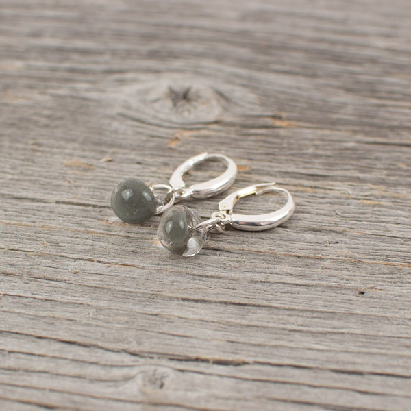 Grey borosilicate glass teardrop and silver earrings - Lisa Young Design