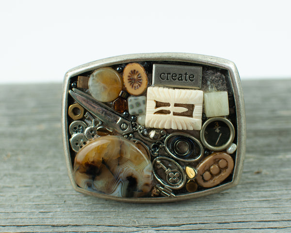 Sewing Theme  Belt Buckle - Lisa Young Design