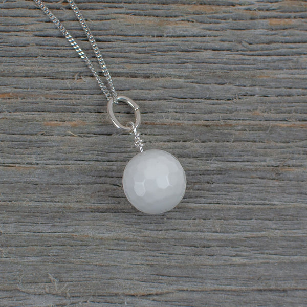 White Agate Golf ball  necklace - Lisa Young Design