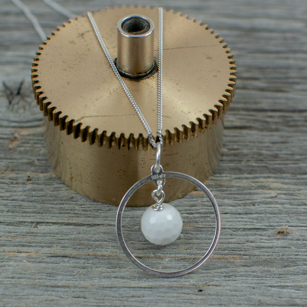 White Agate Golf ball Hole in one necklace - Lisa Young Design