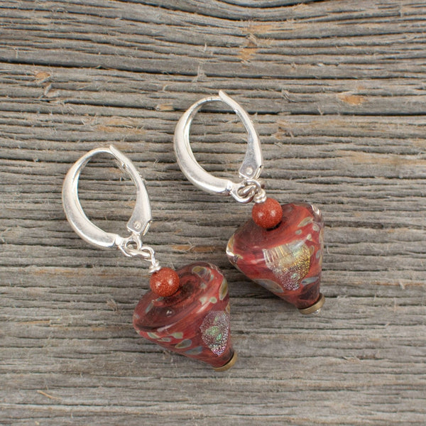 Rusty red cone shaped borosilicate glass and silver earrings - Lisa Young Design