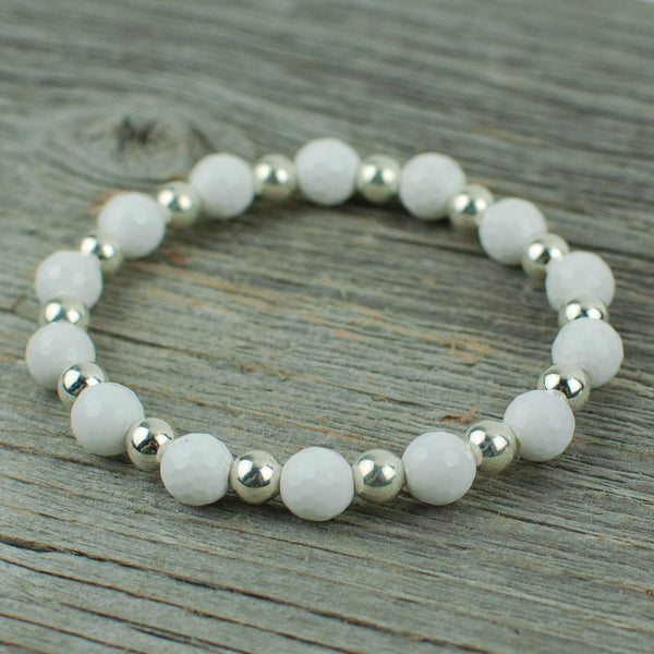Golf Ball  Bracelet in White Agate and Silver Bead