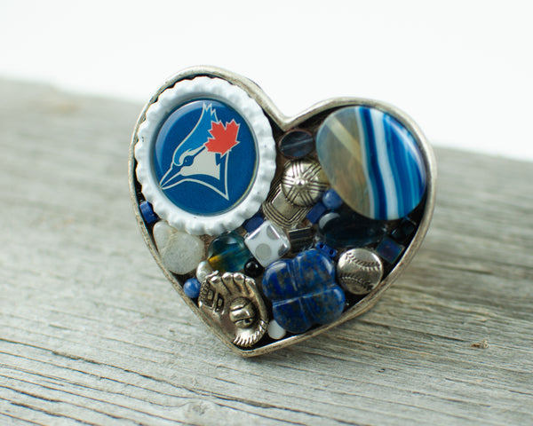Toronto Blue Jays theme heart shaped Belt Buckle - Lisa Young Design