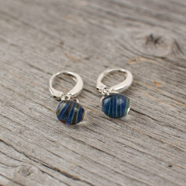 Blue striped borosilicate glass teardrop and silver earrings - Lisa Young Design