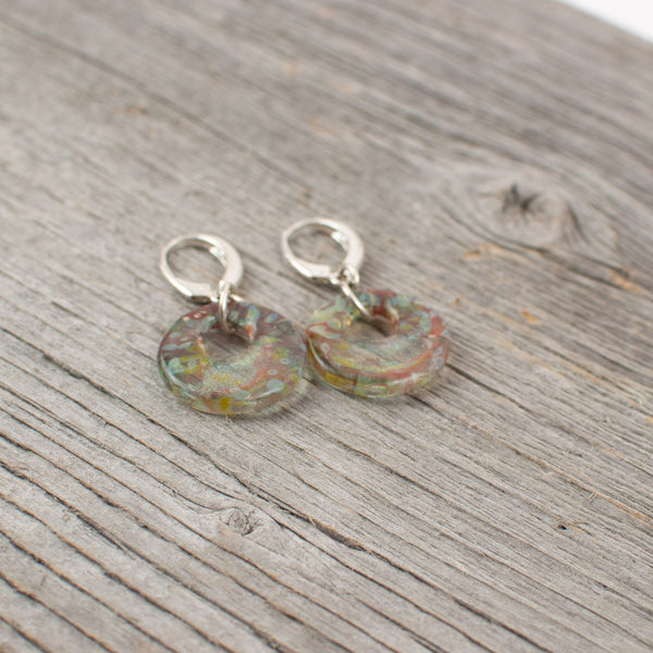 Borosilicate glass disc and silver earrings - Lisa Young Design