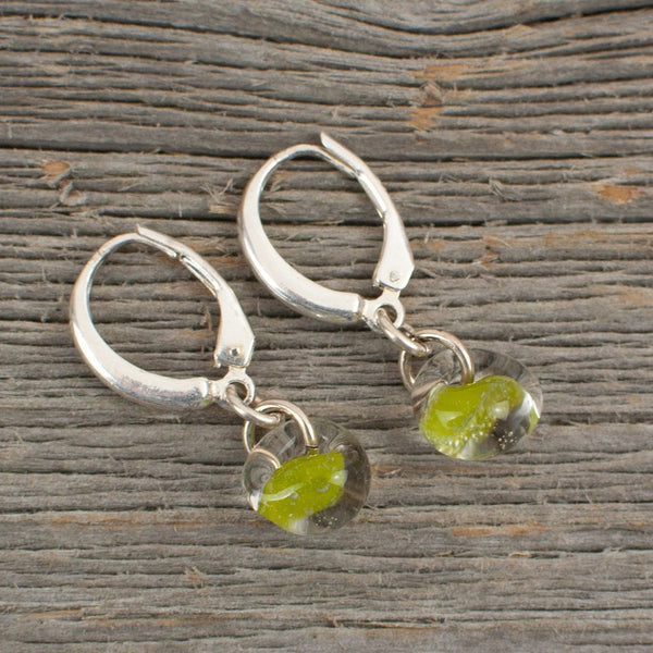 Lime green borosilicate glass teardrop and silver earrings - Lisa Young Design
