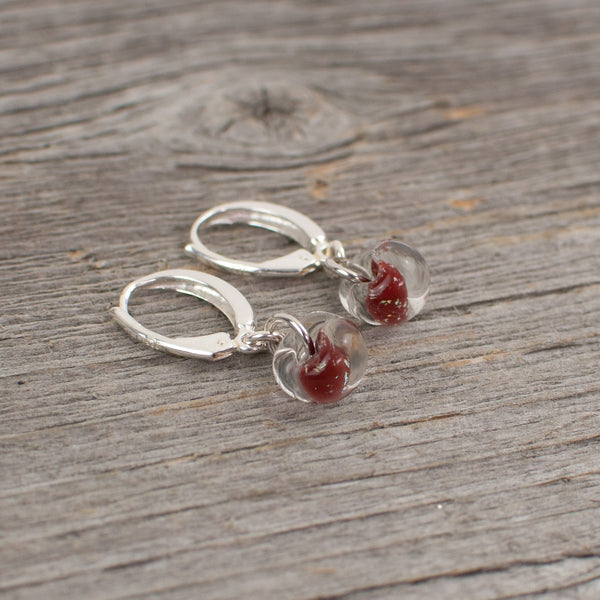 Red borosilicate glass teardrop and silver earrings - Lisa Young Design