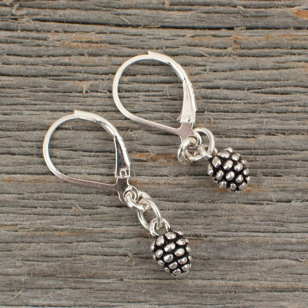 Mini Pine cone charm silver earrings - Lisa Young Design
