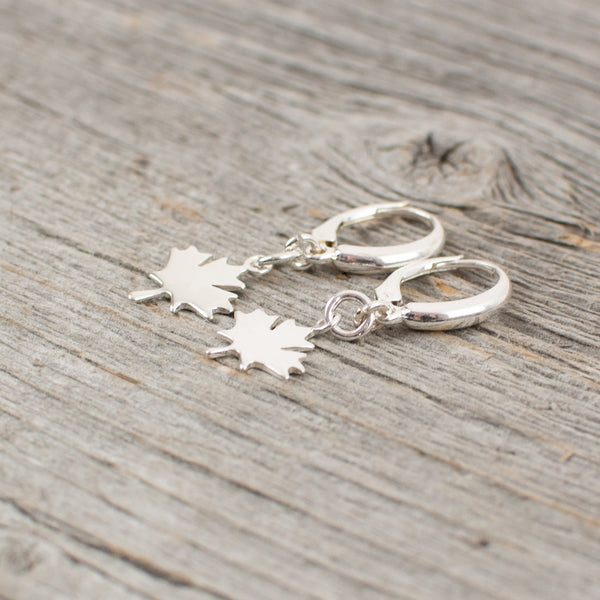 Maple leaf charm silver earrings - Lisa Young Design