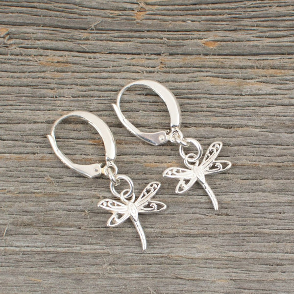 Dragonfly charm  Silver earrings - Lisa Young Design