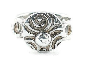 Silver Art Clay Swirl Ring with Silver  Nugget and Hole band - Lisa Young Design