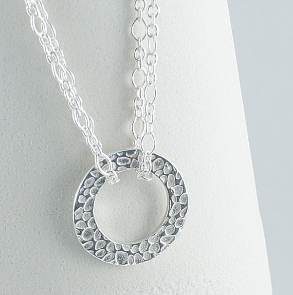 Silver Art Clay Textured Circle Necklace with Double Sterling 16 inch Chain - Lisa Young Design