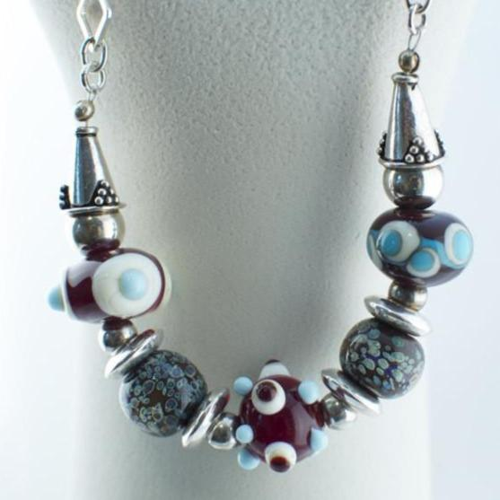 Lampwork bead and silver necklace in brown and light blue with Sterling silver square chain - Lisa Young Design