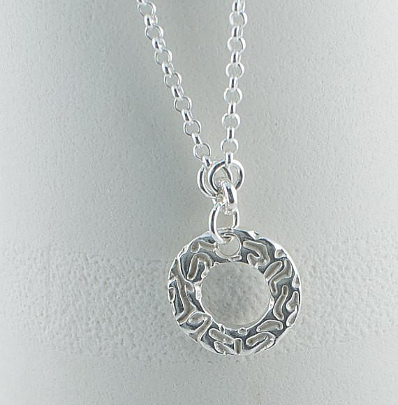 Silver Art Clay Circle Necklace - Lisa Young Design