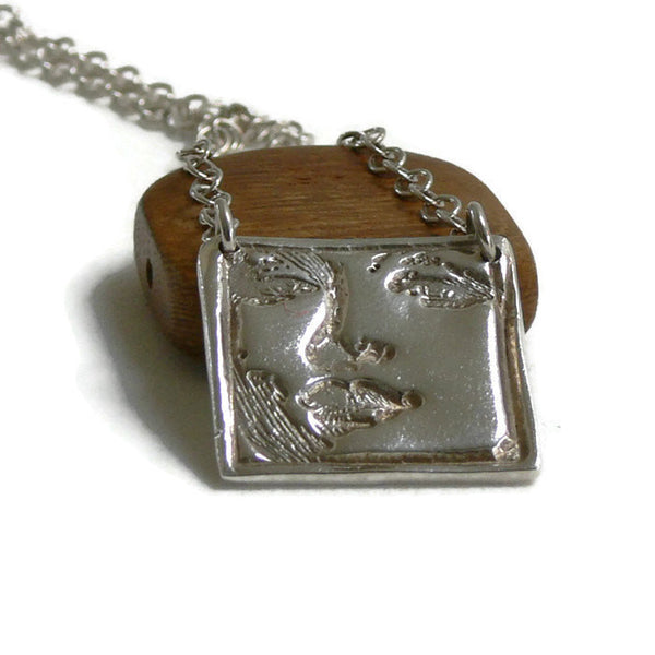 Ladies Face  Silver  Art Clay Necklace with 16 inch Sterling Silver chain - Lisa Young Design