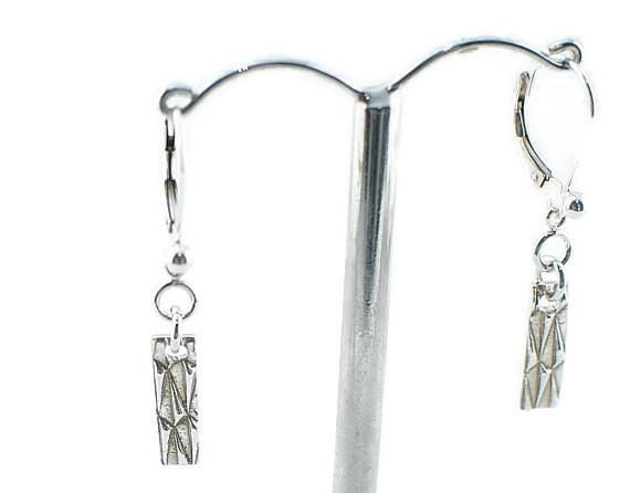 Silver Art Clay Small Rectangle Textured Earrings - Lisa Young Design