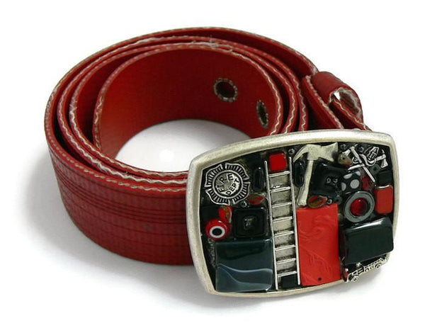 Fireman Theme Belt buckle on recycled fire hose strap - Lisa Young Design