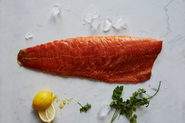 London Cure Oak Smoked Trout Whole Fillet D-Cut Hand-sliced