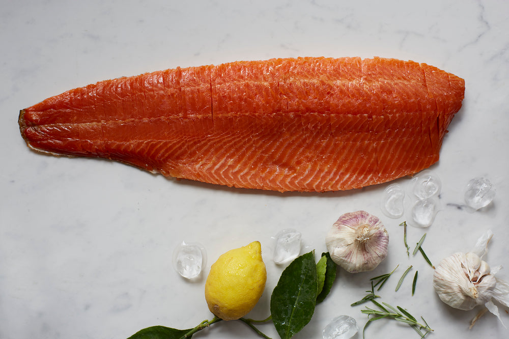 Christmas Oak Smoked Trout Whole Fillet V-Cut [Vertically]