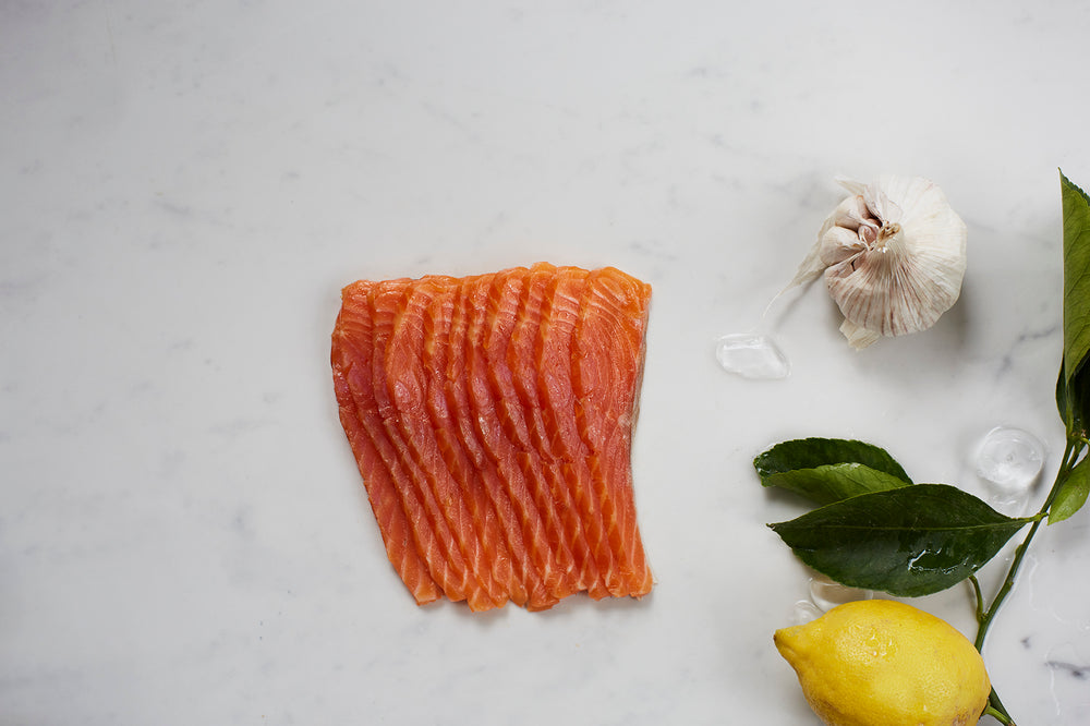 London Cure Oak Smoked Trout 200g V-Cut [Vertically]