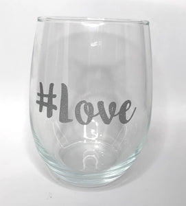 #Love Glitter Silver Stemless Wine Glass