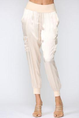 Champagne Satin Cargo Pants