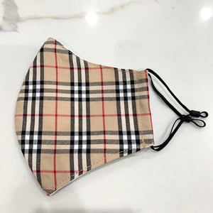 Unisex Tan Plaid Face Masks w/ Adjustable Ear Loops