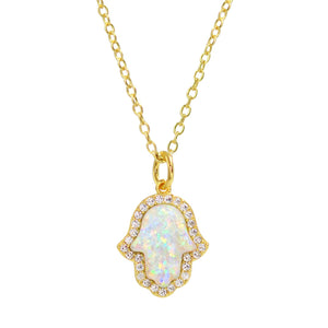 Kamaria Opal Hamsa Gold-Plated Sterling Silver Necklace