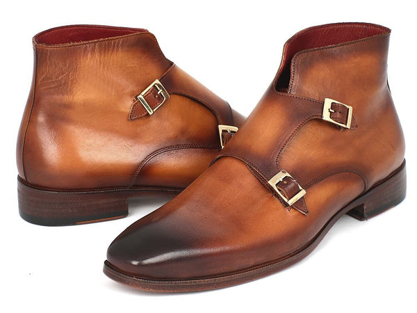 Paul Parkman Double Monk Strap Boots Brown FREE Shipping!