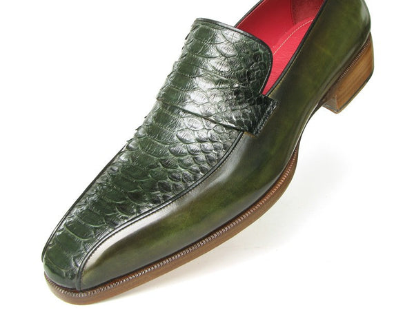 Mens Loafers Green Genuine Python Hand painted Calfskin - PRO Made