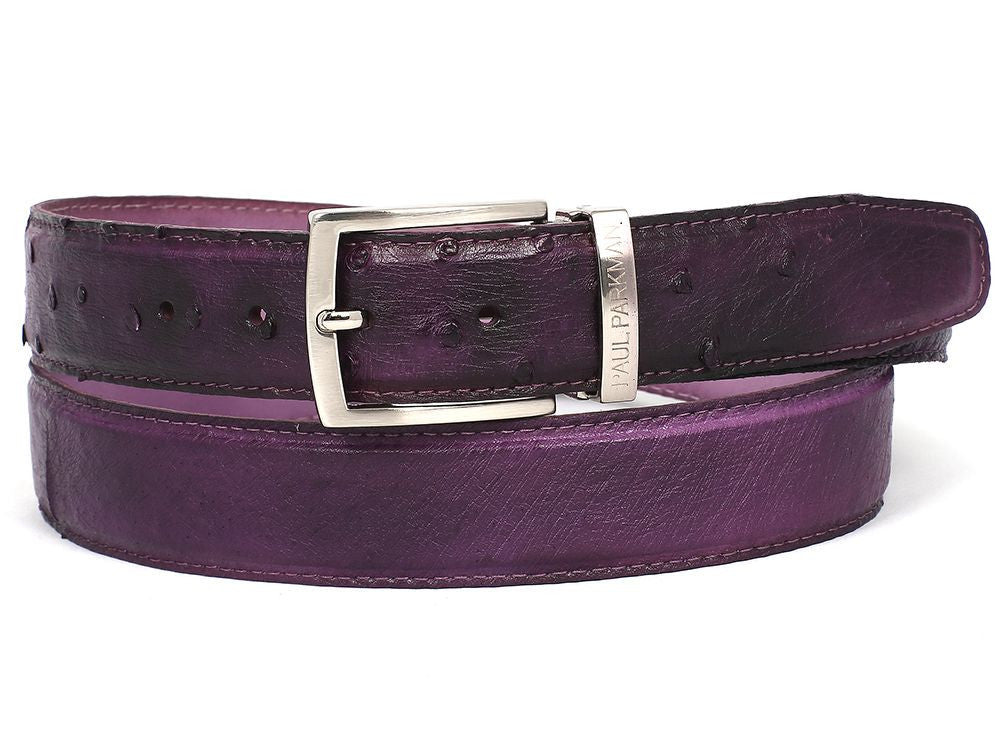 Mens Leather Belt Purple Genuine Ostrich - PRO Made