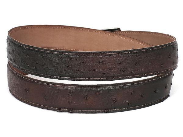 Mens Leather Belt Brown Genuine Ostrich - PRO Made