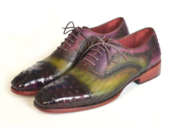 Mens Oxford Shoes Genuine Ostrich Captoe Green & Purple - PRO Made