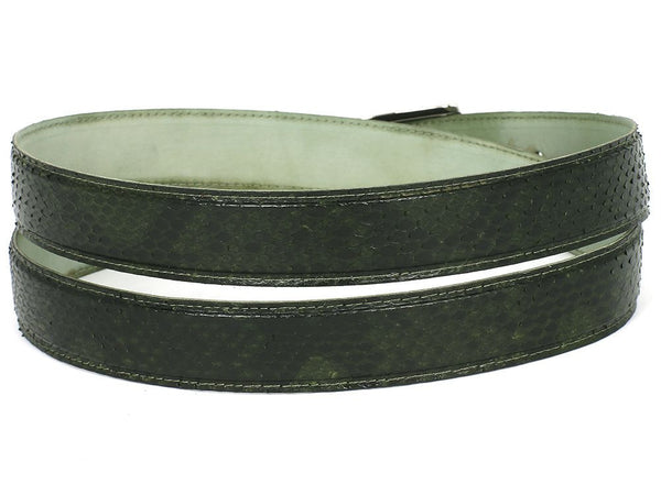 Mens Leather Belt Green Genuine Python (snakeskin) - PRO Made