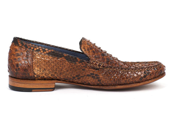 Mens Loafers Moccasins Brown & Tobacco Genuine Python - PRO Made