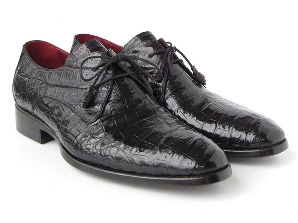 Mens Derby Shoes Black Genuine Crocodile - PRO Quality