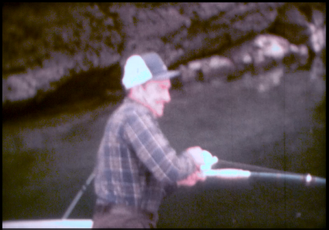 2 Men Fishing by Lake 1975