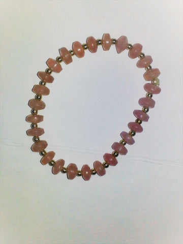 Rose Quartz Bracelet-with silver beads - Very Shari