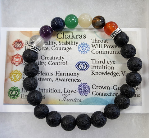 Lava Bead and chakra bracelet - Very Shari