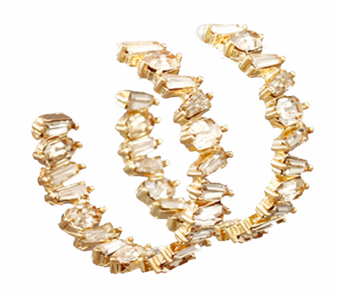 Crystal Hoop Earrings - Light Gold