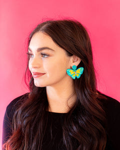 Butterfly Sequin Earrings - Blue