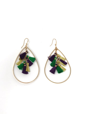 Multi Tassel Mardi Gras Earrings