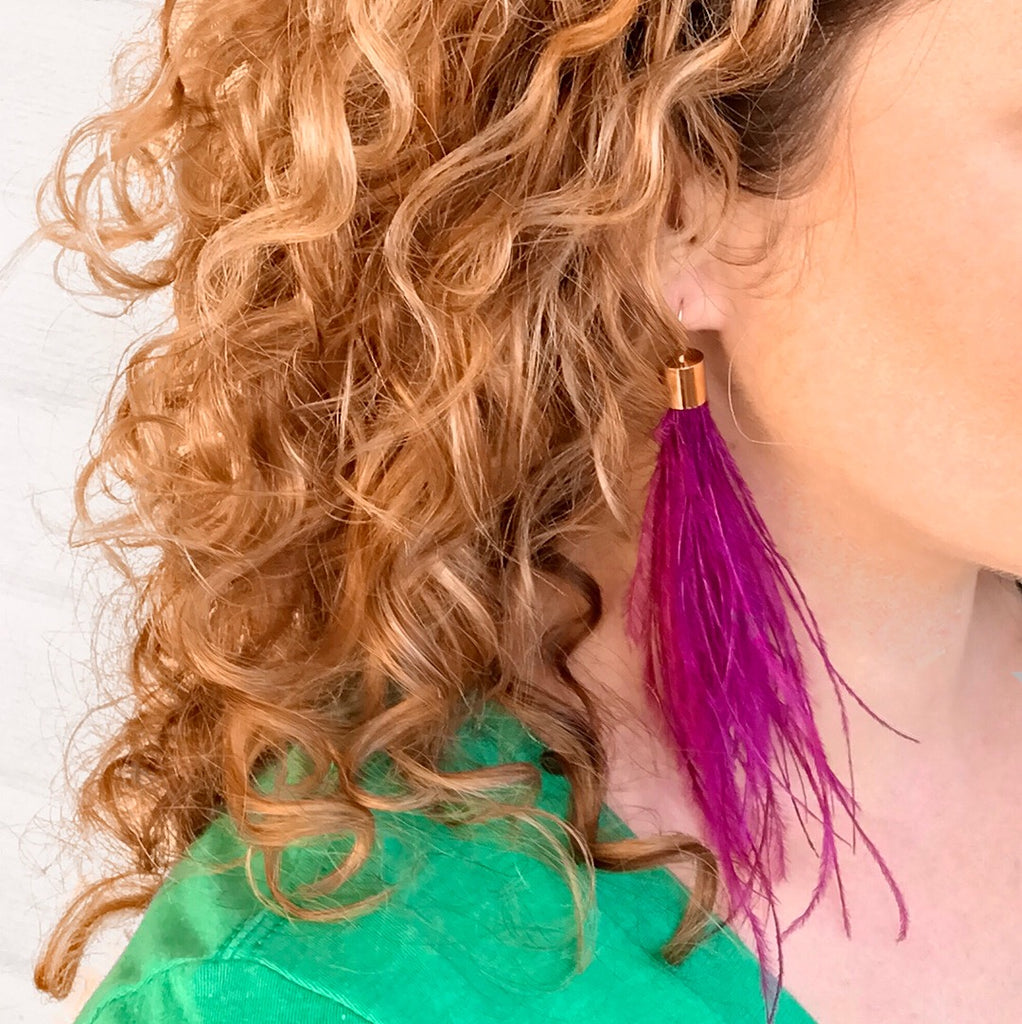 Feather Earrings - Purple
